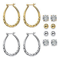 Cubic Zirconia 6-Pair Set of Stud and Twisted Hoop Earrings 8 TCW in Gold Tone and Silvertone 1""
