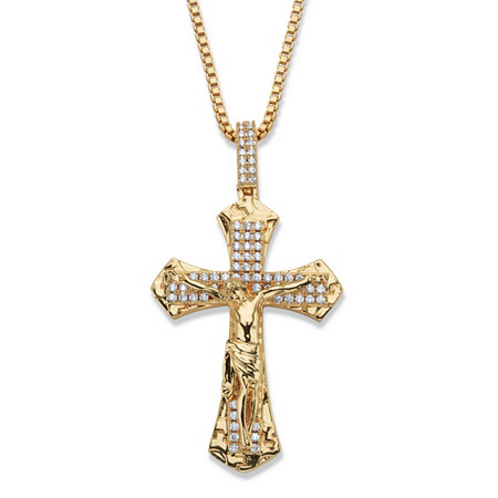 Men's Round Cubic Zirconia Crucifix Pendant Necklace 2.05 TCW 14k Gold-Plated 22