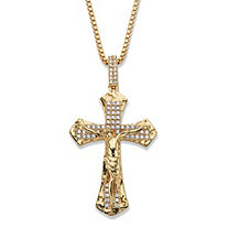 Men's Round Cubic Zirconia Crucifix Pendant Necklace 2.05 TCW 14k Gold-Plated 22""