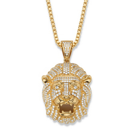 "Men's Cubic Zirconia Lion's Head Pendant Necklace 2.06 TCW 14k Gold-Plated 22"" at PalmBeach Jewelry"