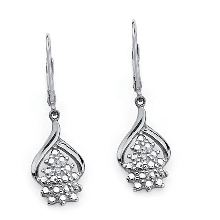 Diamond Accent Cluster Drop Earrings in Platinum over Sterling Silver at PalmBeach Jewelry