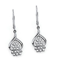 Diamond Accent Cluster Drop Earrings in Platinum over Sterling Silver