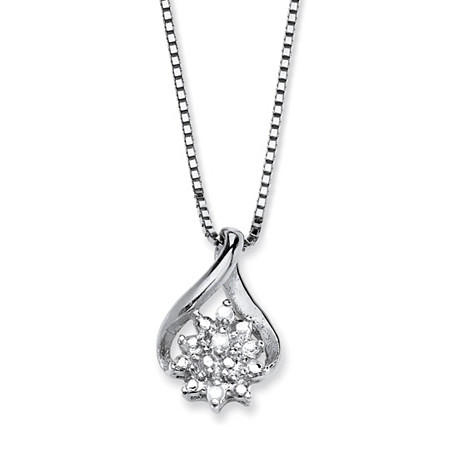 Diamond Accent Cluster Pendant Necklace in Platinum over Sterling Silver at PalmBeach Jewelry