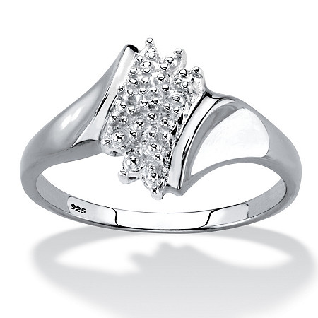 Diamond Accent Cluster Ring in Platinum over Sterling Silver at PalmBeach Jewelry