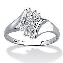 Diamond Accent Cluster Ring in Platinum over Sterling Silver