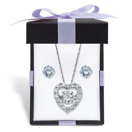 "Cubic Zirconia Stud Earrings and CZ in Motion Heart Necklace Set 2.46 TCW in Platinum over Sterling Silver With FREE Gift Box 18"" at PalmBeach Jewelry"