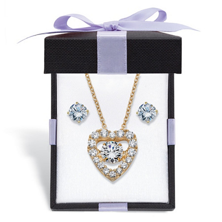 Cubic Zirconia Stud Earrings and CZ in Motion Heart Necklace Set 2.56 TCW in 14k Gold over Sterling Silver With FREE Gift Box 18