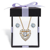 Cubic Zirconia Stud Earrings and CZ in Motion Heart Necklace Set 2.56 TCW in 14k Gold over Sterling Silver With FREE Gift Box 18""