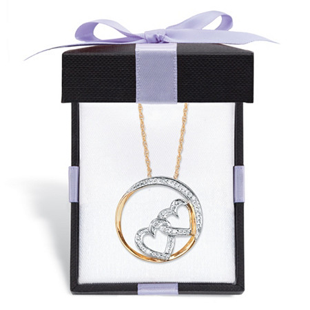 "Diamond Accent ""Heart-to-Heart"" Pendant Necklace in Solid 10k Yellow Gold With FREE Gift Box 16"" at PalmBeach Jewelry"