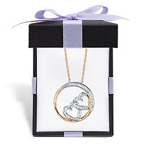 "Diamond Accent ""Heart-to-Heart"" Pendant Necklace in Solid 10k Yellow Gold With FREE Gift Box 16"""
