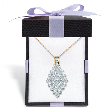 "Round Diamond Cluster Pendant Necklace 1/10 TCW in Solid 10k Yellow Gold With FREE Gift Box 18"" at PalmBeach Jewelry"