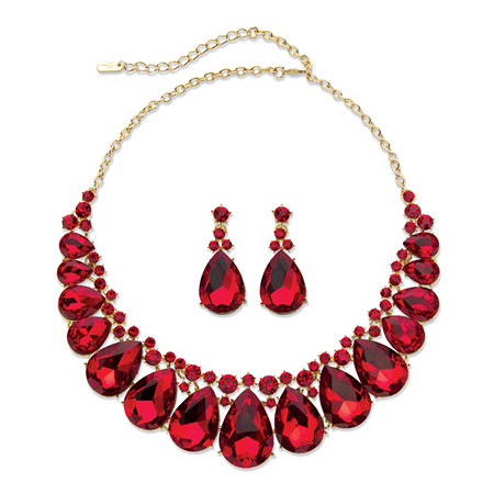 "Pear-Cut Red Crystal 2-Piece Drop Earrings and Bib Necklace Set in Gold Tone 16""-18.5"" at PalmBeach Jewelry"
