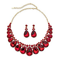 "Pear-Cut Red Crystal 2-Piece Drop Earrings and Bib Necklace Set in Gold Tone 16""-18.5"""