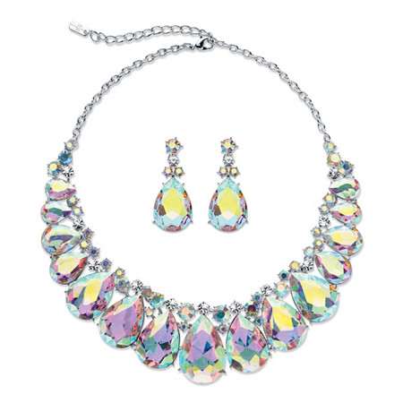 Pear-Cut Aurora Borealis Crystal 2-Piece Drop Earrings and Bib Necklace Set in Silvertone 16