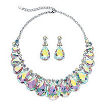SETA JEWELRY Pear-Cut Aurora Borealis Crystal 2-Piece Drop Earrings and Bib Necklace Set in Silvertone 16