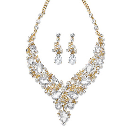 "Pear-Cut Crystal and Simulated Pearl 2-Piece Drop Earrings and Necklace Set in Gold Tone 18""-21"" at PalmBeach Jewelry"