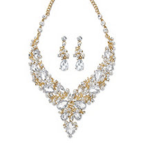"Pear-Cut Crystal and Simulated Pearl 2-Piece Drop Earrings and Necklace Set in Gold Tone 18""-21"""