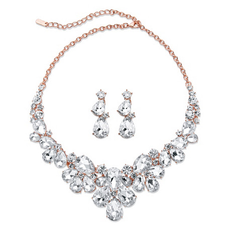 Pear-Cut Crystal 2-Piece Floral Earrings and Statement Necklace Set in Rose Gold Tone 18