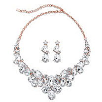 "Pear-Cut Crystal and 2-Piece Floral Earrings and Statement Necklace Set in Rose Gold Tone 18"" - 20.5"""