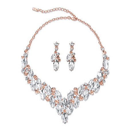 "Marquise-Cut Crystal 2-Piece Earrings and Statement Necklace Set in Rose Gold Tone 18""-20"" at PalmBeach Jewelry"