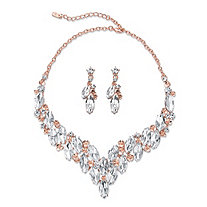 "Marquise-Cut Crystal 2-Piece Earrings and Statement Necklace Set in Rose Gold Tone 18""-21"""