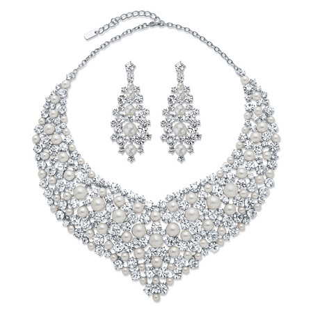 "Round Crystal and Simulated Pearl 2-Piece Earrings and Statement Necklace Set in Silvertone 18""-20.5"" at PalmBeach Jewelry"