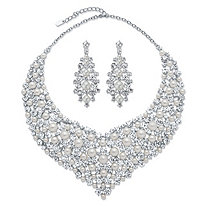 "Round Crystal and Simulated Pearl 2-Piece Earrings and Statement Necklace Set in Silvertone 18""-20.5"""