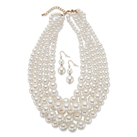 "Graduated Simulated Pearl 2-Piece Drop Earrings and Multi-Strand Necklace Set in Gold Tone 18""-21"" at PalmBeach Jewelry"