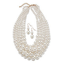 "Graduated Simulated Pearl 2-Piece Drop Earrings and Multi-Strand Necklace Set in Gold Tone 18""-21"""