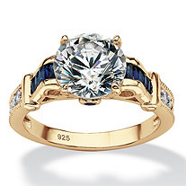 3.53 TCW Round Cubic Zirconia and Created Blue Sapphire Engagement Ring in 14k Gold over Sterling Silver