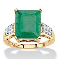 5.25 TCW Emerald-Cut Genuine Emerald and White Topaz Ring 18k Gold over Sterling Silver