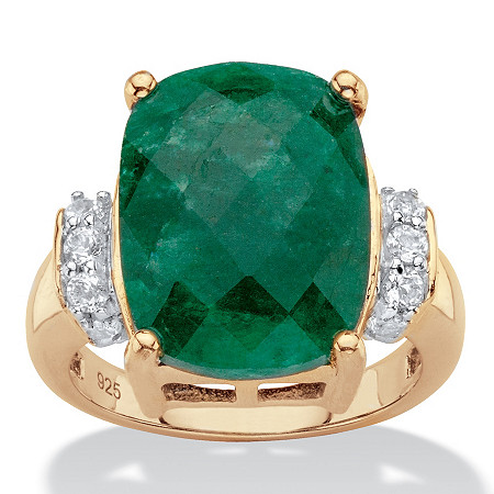 Cushion-Cut Genuine Emerald and White Tanzanite Cocktail Ring 8.45 TCW in 18k Gold over Sterling Silver at PalmBeach Jewelry
