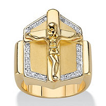 Men's Cubic Zirconia Crucifix Cross Ring .15 TCW 14k Gold-Plated