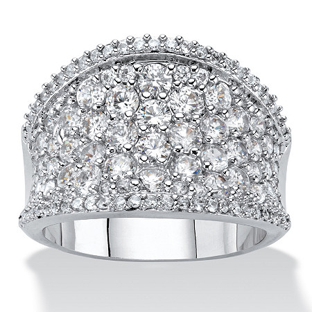 Round Cubic Zirconia Concave Dome Ring 2.45 TCW in Silvertone at PalmBeach Jewelry