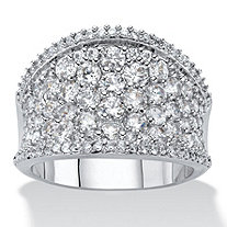 Round Cubic Zirconia Concave Dome Ring 2.45 TCW in Silvertone