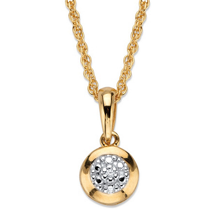 """Diamond Accent Round Halo Pendant Necklace in 18k Gold Over Sterling Silver 18"""" at PalmBeach Jewelry"""