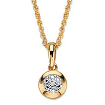 Diamond Accent Round Halo Pendant Necklace in 18k Gold Over Sterling Silver 18""