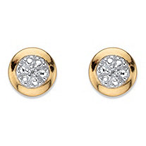 SETA JEWELRY Diamond Accent Round Halo Stud Earrings in 18k Gold Over Sterling Silver (6.5 mm)