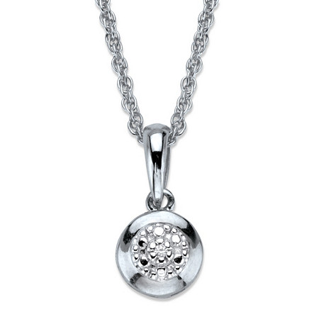 Diamond Accent Round Halo Pendant Necklace in Platinum Over Sterling Silver 18