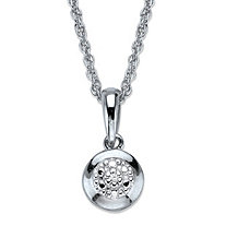 Diamond Accent Round Halo Pendant Necklace in Platinum Over Sterling Silver 18""