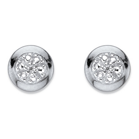 Diamond Accent Round Halo Stud Earrings in Platinum Over Sterling Silver (6.5 mm) at PalmBeach Jewelry