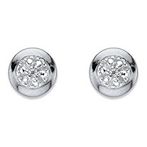 SETA JEWELRY Diamond Accent Round Halo Stud Earrings in Platinum Over Sterling Silver (6.5 mm)