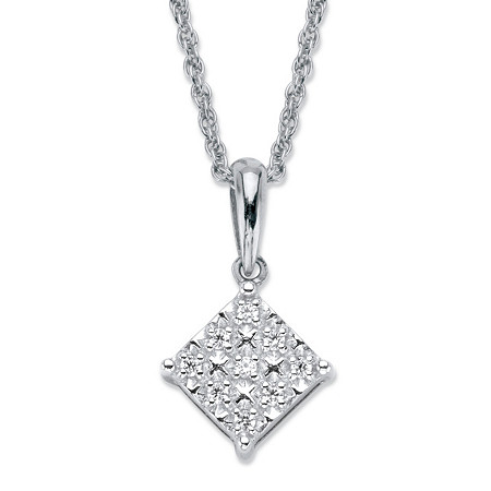 "Round Diamond Squared Cluster Pendant Necklace 1/10 TCW in Platinum over Sterling Silver 18"" at PalmBeach Jewelry"