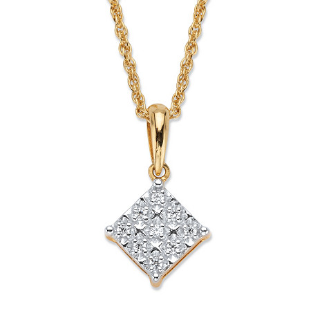 "Round Diamond Squared Pendant Necklace 1/10 TCW in 18k Gold over Sterling Silver 18"" at PalmBeach Jewelry"