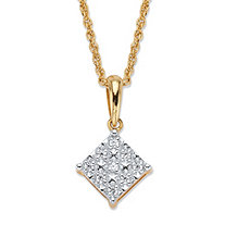 Round Diamond Squared Pendant Necklace 1/10 TCW in 18k Gold over Sterling Silver 18