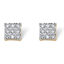 SETA JEWELRY Round Diamond Squared Stud Earrings 1/8 TCW in 18k Gold over Sterling Silver (7mm)