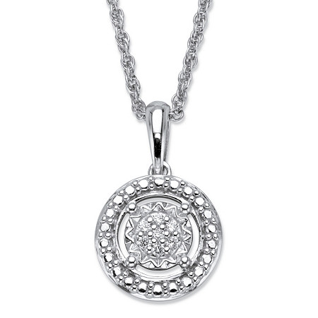 "Round Diamond Accent Floating Halo Pendant Necklace in Platinum over Sterling Silver 18"" at PalmBeach Jewelry"