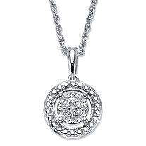Round Diamond Accent Floating Halo Pendant Necklace in Platinum over Sterling Silver 18