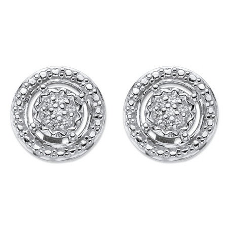 Round Diamond Accent Floating Halo Stud Earrings in Platinum over Sterling Silver at PalmBeach Jewelry