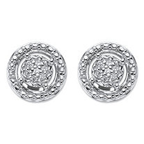 SETA JEWELRY Round Diamond Accent Floating Halo Stud Earrings in Platinum over Sterling Silver